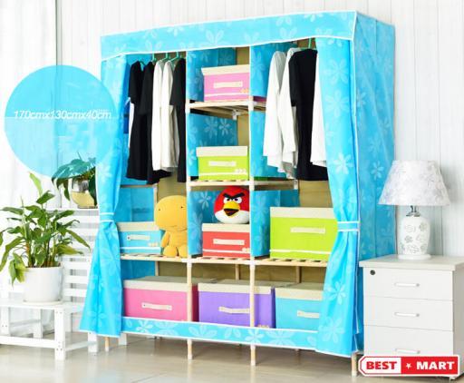 Tủ vải khung gỗ cao cấp xanh