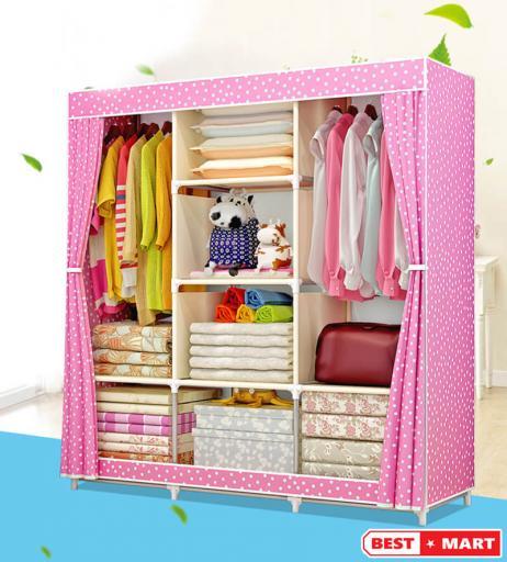 Tủ vải ba buồng khung sắt hồng