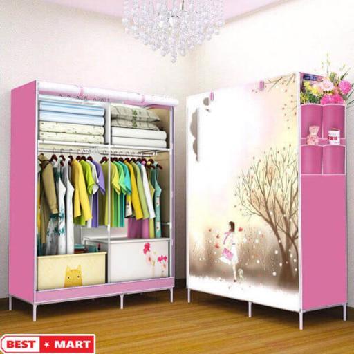 Tủ vải quần áo 3D hồng