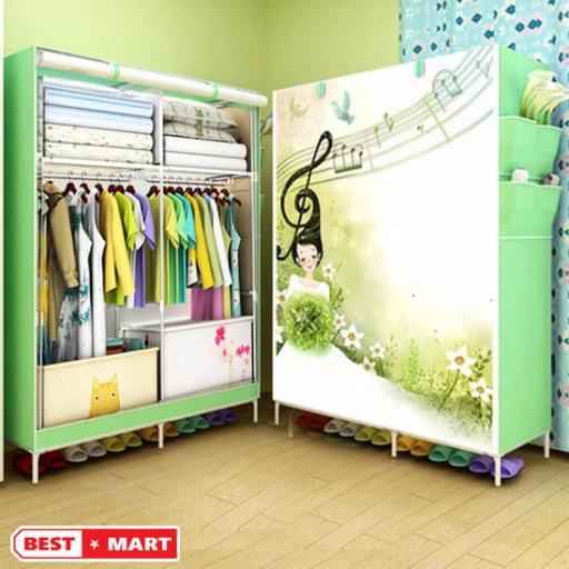 Tủ vải quần áo 3D xanh lá