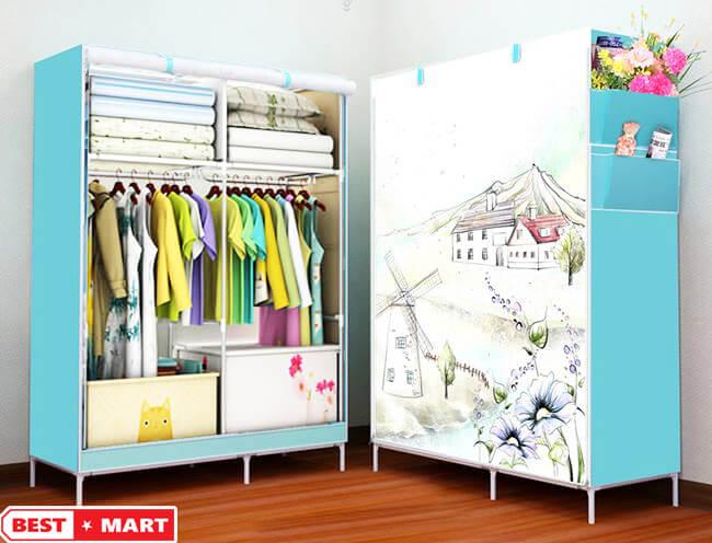 Tủ vải quần áo 3D xanh dương