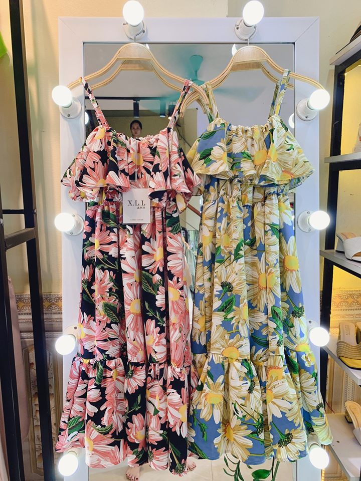 Váy maxi đi biển hoa to