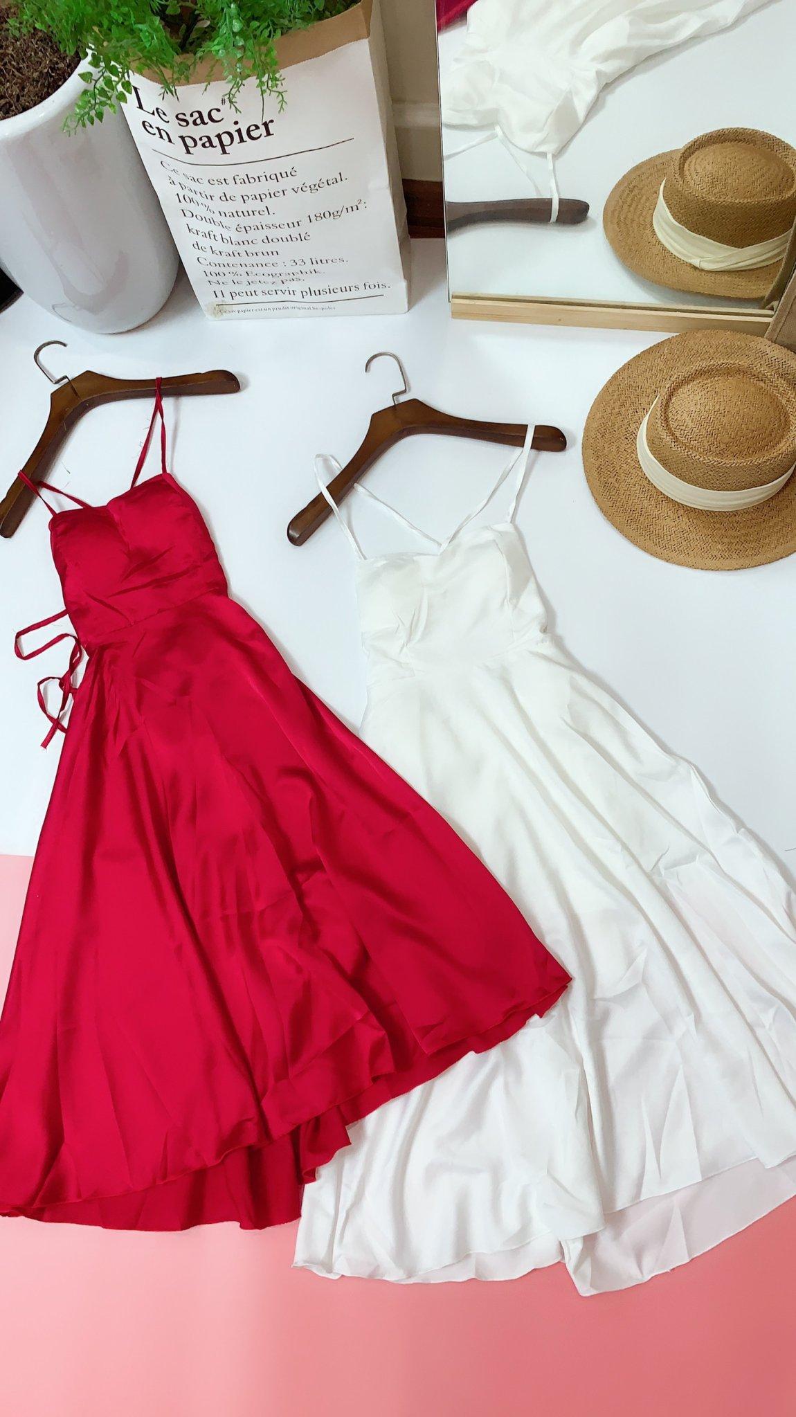 Váy Maxi Hai Dây Đi Biển Dây Đan Lưng Có Đệm Ngực Cực Xinh