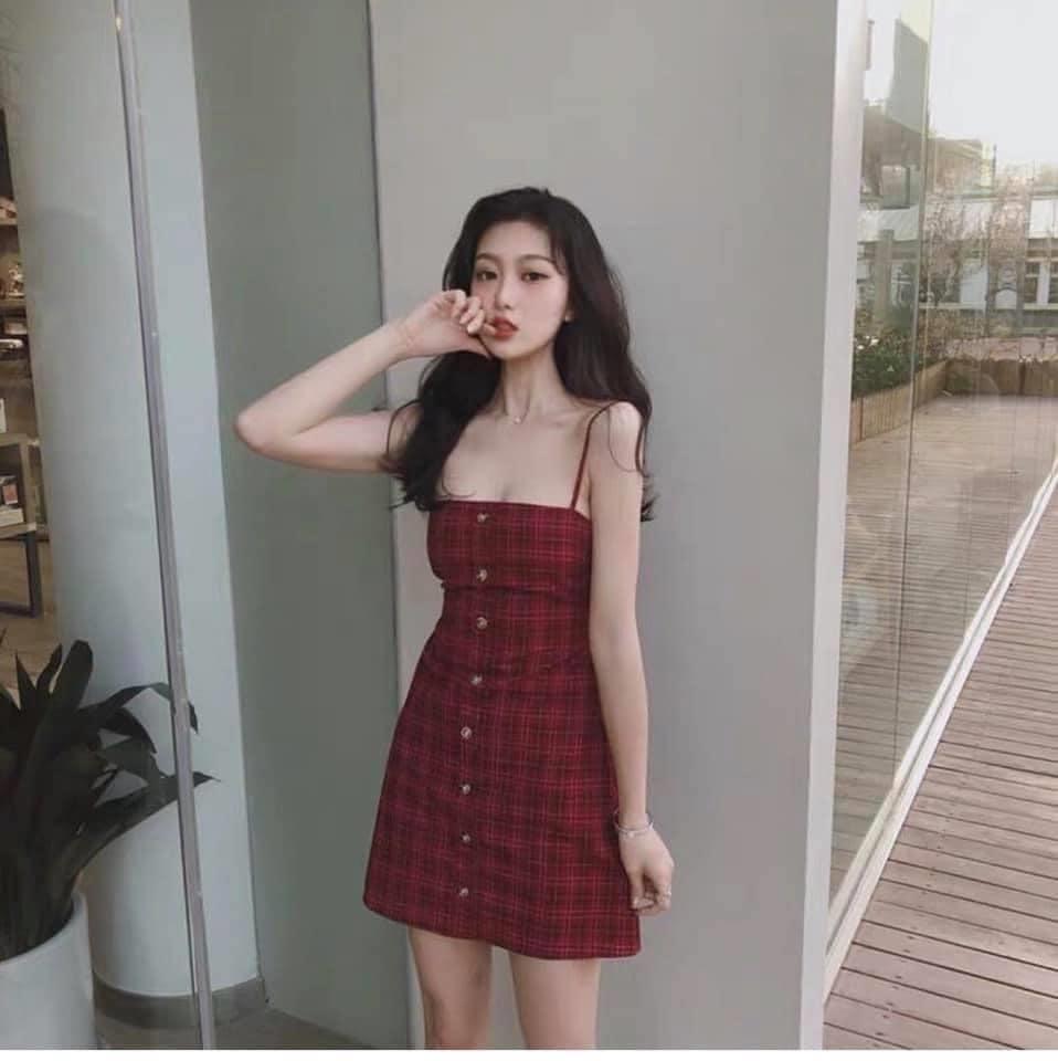Váy Hai Dây Kẻ Đỏ Thắt Nơ Lưng Siêu Xinh