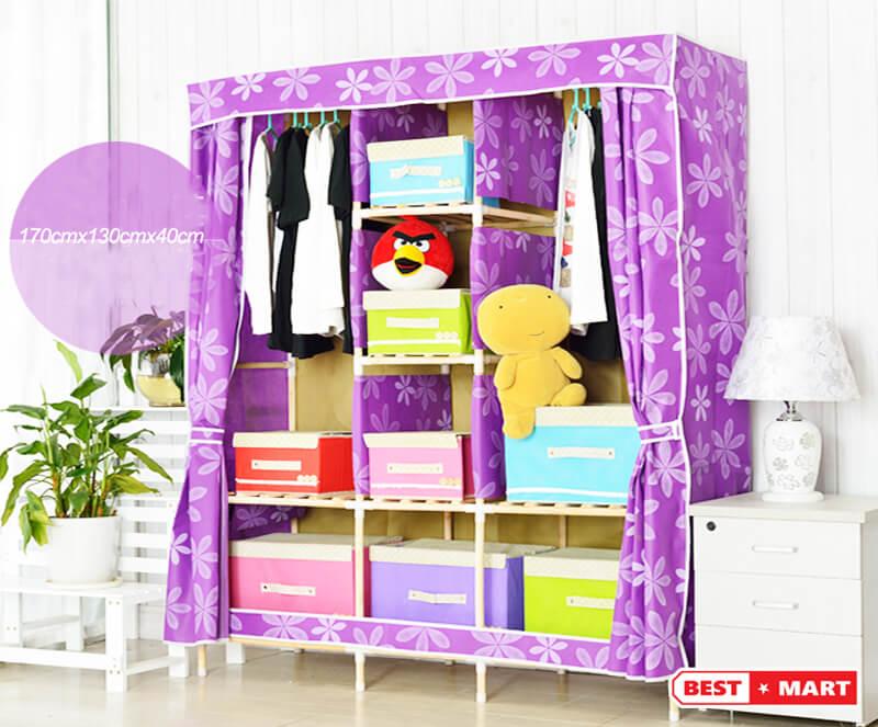 Tủ vải khung gỗ cao cấp hồng