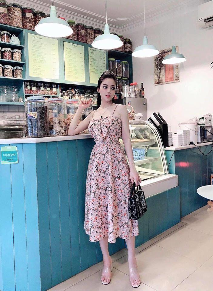 Váy 2 dây buộc nơ ngực hoa nhí siêu xinh